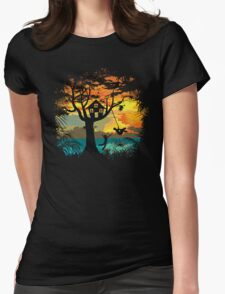 Sunset Silhouette Womens Fitted T-Shirt