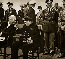 Roosevelt and Churchill after the service on board HMS Prince of Wales by Bridgeman Art Library