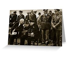 Roosevelt and Churchill after the service on board HMS Prince of Wales Greeting Card