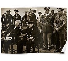 Roosevelt and Churchill after the service on board HMS Prince of Wales Poster