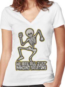 Dancing Skeletons Women's Fitted V-Neck T-Shirt