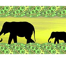 Black elephants in paisley frame Photographic Print