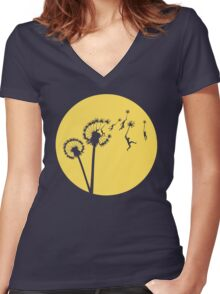 Dandylion Flight - Reversed Circular Women's Fitted V-Neck T-Shirt