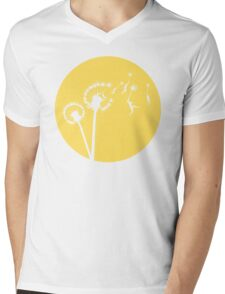Dandylion Flight - Reversed Circular Mens V-Neck T-Shirt