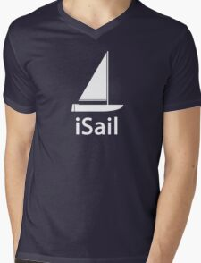 iSail WHITE Mens V-Neck T-Shirt