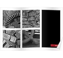 Gear, Bricks, Freestone wall and wheel handle Poster