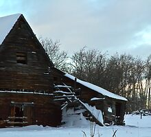 The Old Barn Winter Scene  by Sandra Foster