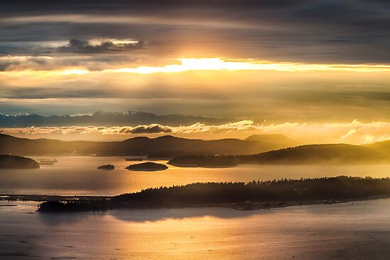 Sunset from Blanchard Mountain  by Jim Stiles