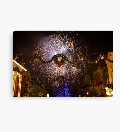 Blue and Gold Christmas Wishes Canvas Print