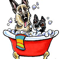 German Shepherd & Boston Terrier in the Bath by offleashart