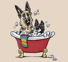 German Shepherd & Boston Terrier in the Bath T-Shirt
