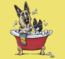 German Shepherd & Boston Terrier in the Bath Kids Clothes