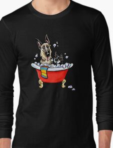 German Shepherd & Boston Terrier in the Bath Long Sleeve T-Shirt