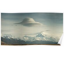 Lower Tasman Valley New Zealand - Lenticular clouds Poster