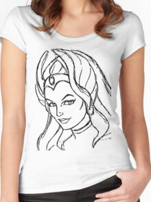 She-Ra Princess of Power - Looking Left - Black Line Art Women's Fitted Scoop T-Shirt