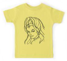 She-Ra Princess of Power - Looking Left - Black Line Art Kids Tee