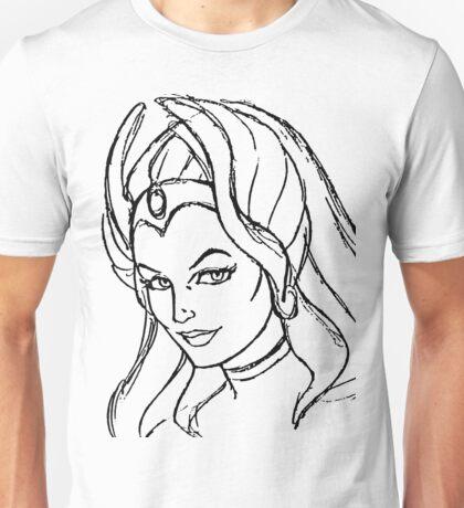 She-Ra Princess of Power - Looking Left - Black Line Art Unisex T-Shirt