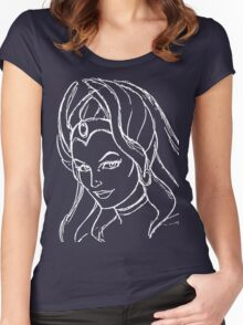 She-Ra Princess of Power - Looking Left - White Line Art Women's Fitted Scoop T-Shirt