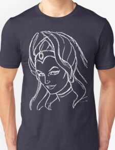 She-Ra Princess of Power - Looking Left - White Line Art T-Shirt