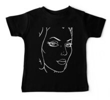 She-Ra Princess of Power - Looking Right - Large Image - White Line Art Baby Tee
