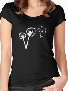 Dandylion Flight - white silhouette Women's Fitted Scoop T-Shirt