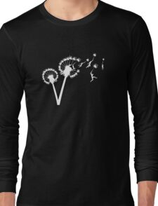 Dandylion Flight - white silhouette Long Sleeve T-Shirt
