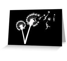 Dandylion Flight - white silhouette Greeting Card