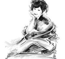 Geisha Geiko maiko young girl Kimono Japanese japan woman sumi-e original painting art print by Mariusz Szmerdt