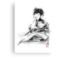 Geisha Geiko maiko young girl Kimono Japanese japan woman sumi-e original painting art print Canvas Print
