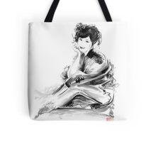 Geisha Geiko maiko young girl Kimono Japanese japan woman sumi-e original painting art print Tote Bag
