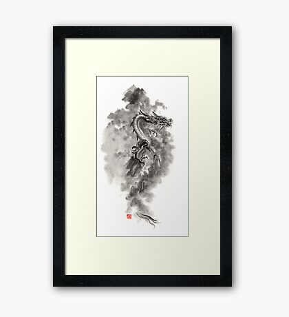 Water Wind dragon dragons sumi-e ink painting chinese zodiac five elements fantasy world art Framed Print