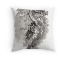 Water Wind dragon dragons sumi-e ink painting chinese zodiac five elements fantasy world art Throw Pillow