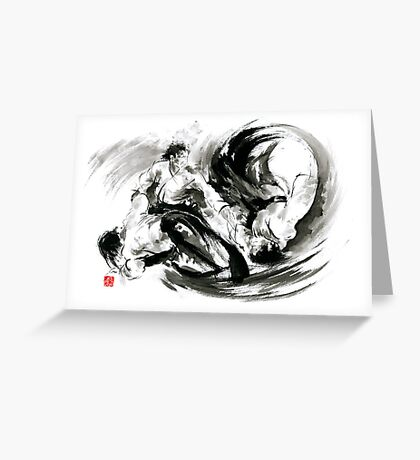Aikido randori fight popular techniques martial arts sumi-e samurai ink painting artwork Greeting Card