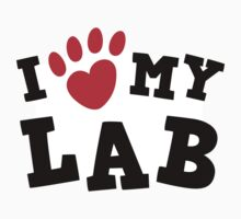 I love (pawprint heart) my lab labrador retriever sticker - black and red by Mhea