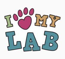 I love (pawprint heart) my lab labrador retriever sticker by Mhea
