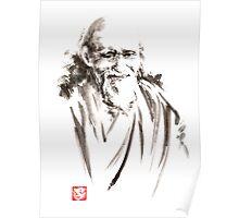 Morihei Ueshiba Sensei Aikido martial arts japan japanese master sum-e portrait founder Poster