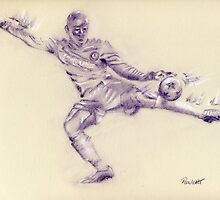 Demba Ba - pastel sketch drawing by Paulette Farrell