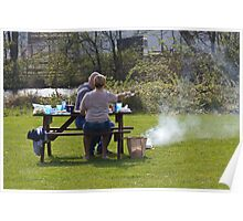 Couple enjoying a picnic in a grassy area Poster
