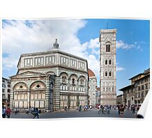 Florence, Cathedral, Baptisterium, Toscana, Italy, Florenz Dom und Baptisterium, Toskana, Italien Poster