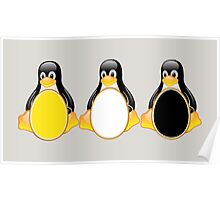LINUX TUX PENGUIN  3 COLOR EGGS Poster