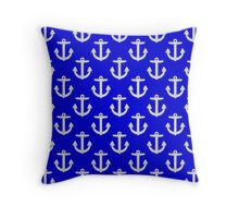 White Anchors On Blue Background Pattern Throw Pillow