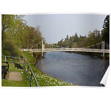 Benches and suspension bridge over River Ness Poster