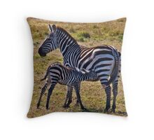 Patient Mother And Foal Throw Pillow