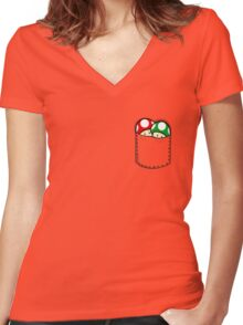 Red Green Mushrooms In Pocket Women's Fitted V-Neck T-Shirt