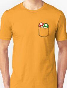 Red Green Mushrooms In Pocket T-Shirt