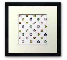Super Mario World pixel item pattern Star Mushroom Flower Framed Print