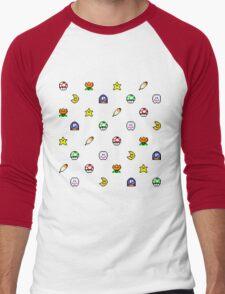 Super Mario World pixel item pattern Star Mushroom Flower Men's Baseball ¾ T-Shirt