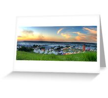 Glastonbury Festival at Sunset Panorama with Tipis Greeting Card