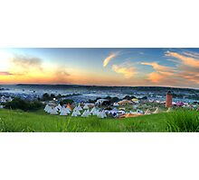 Glastonbury Festival at Sunset Panorama with Tipis Photographic Print