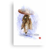 Geisha Japanese woman custom handmade paper umbrella rain Japan japanese painting art  Canvas Print